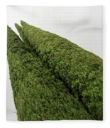 Sculpturesque Greenery - Three Cypress Trees Chiseled Against The Sky Fleece Blanket