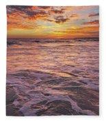Sea At Sunset In Algarve Fleece Blanket