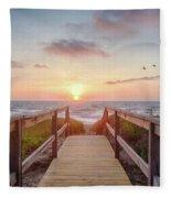 Sea Birds At Sunrise Fleece Blanket