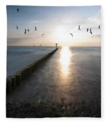 Sea Birds Sunset. Fleece Blanket