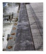 Sea Cliff Seawall Boardwalk Fleece Blanket