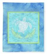 Flamingo Beach 1 - Turtle With Starfish  Fleece Blanket