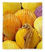 Sea Horse And Sea Shells Fleece Blanket