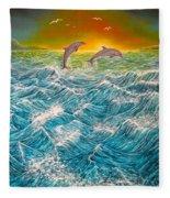 Sea In Action Fleece Blanket