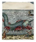 Sea Monster, 16th Century Fleece Blanket