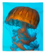 Sea Nettle Jellyfish - Orange And Turquoise Fleece Blanket