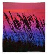 Sea Oat Sunset Fleece Blanket