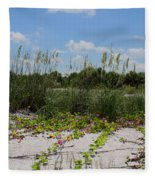 Sea Oats And Blooming Cross Vine Fleece Blanket