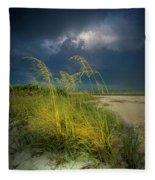Sea Oats In The Storm Fleece Blanket