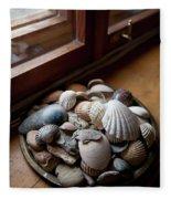 Sea Shells And Stones On Windowsill Fleece Blanket