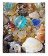 Sea Shells Art Prints Blue Seaglass Sea Glass Coastal Fleece Blanket