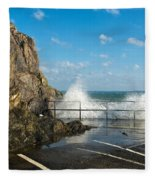 Sea Spray At Mevagissey Harbour Fleece Blanket