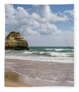 Sea Stack Sculpted Like A Ship Riding The Waves Fleece Blanket