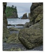 Sea Stacks And Boulders Washington State Fleece Blanket