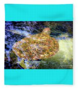 Sea Turtle In Hawaii Fleece Blanket