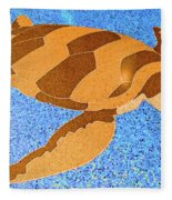 Sea Turtle Inlay In Vibrant Colors Fleece Blanket