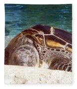 Sea Turtle Resting Fleece Blanket