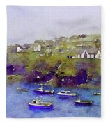 Sea Wall Of North Cornwall Fleece Blanket by Susan Maxwell Schmidt