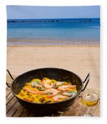Seafood Paella In Cafe Fleece Blanket