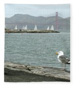 Seagull And Golden Gate Bridge Fleece Blanket