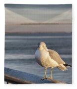 Seagull At Ravenel Bridge Fleece Blanket