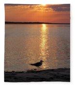 Seagull At Sunset Fleece Blanket