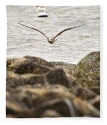 Seagull Flying Into Ocean Jetty Fleece Blanket