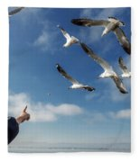 Seagull Flying Fleece Blanket by Pradeep Raja PRINTS