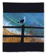 Seagull On The Fence Fleece Blanket