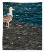 Seagull On The Pier Fleece Blanket