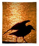 Seagull Silhouette Fleece Blanket