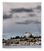 Seagull Under The Moon Light Of Mediterranean Sea Fleece Blanket
