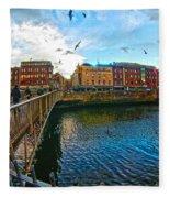 Seagulls Over Liffey Fleece Blanket