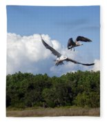 Seagulls Over Marsh Fleece Blanket