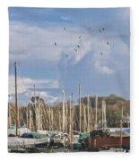 Seagulls Over Mylor Creek Boatyard Fleece Blanket