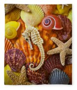Seahorse And Assorted Sea Shells Fleece Blanket