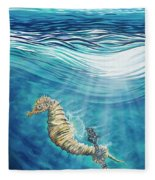 Seahorse Blues Fleece Blanket