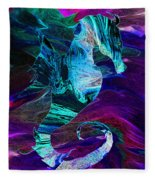 Seahorse In A Lightning Storm Fleece Blanket