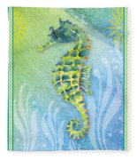 Seahorse Blue Green Fleece Blanket