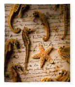 Seahorses And Starfish On Old Letter Fleece Blanket