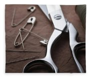 Seamstress Scissors Fleece Blanket