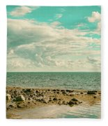 Seascape Cloudscape Retro Effect Fleece Blanket