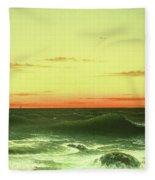 Seascape Sunset 1861 Fleece Blanket