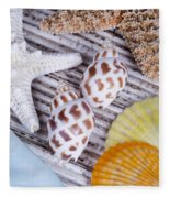 Seashells And Starfish Fleece Blanket