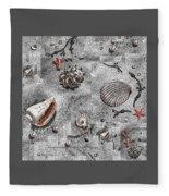 Seashells Collage Of Any Color Fleece Blanket