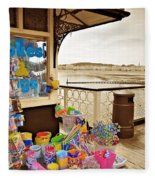 Seaside Buckets And Spades For Sale On Llandudno Pier Fleece Blanket