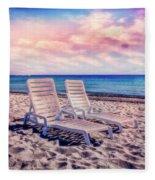 Seaside Chairs Fleece Blanket