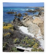 Seaside Flowers And Rocky Shore Fleece Blanket