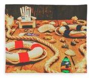 Seaside Ropes And Nautical Decks Fleece Blanket