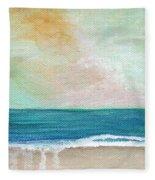 Seaside Sunset- Expressionist Landscape Fleece Blanket